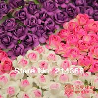 Free Shipping(1440pcs/lot) 1-1.5cm head Multicolor Mulberry Paper Flower Bouquet/wire stem/ Scrapbooking artificial rose flowers