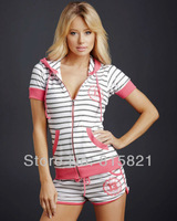 Free Shipping SF Handsome sport Women The Suit ,casual stripe pink / blue Hoodies and shorts ,wholesale Women's Sport Suit 9261