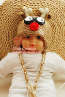 Free shipping  Handmade Crochet Baby Toddler  baby Children knitting Rudolf Reindeer animal hat cashmere wool