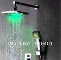 "Free shipping!3 Color changing shower set faucet rain 8"" square shower head LED light mixer tap chrome"
