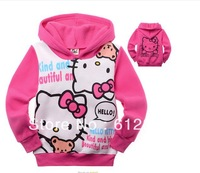 fashion hot pink girl's hello kitty jackets children's outwears hoodies 6pcs a lot free shipping