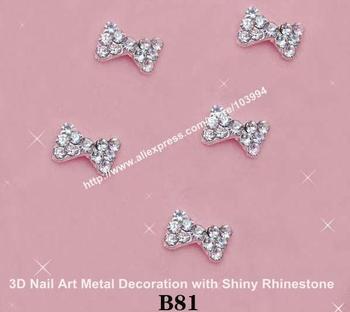 Free Shipping 100pcs/bag, 8mm-10mm Butterfly Shape 3D Metal Nail Art Decorations with Shiny Rhinestones B81