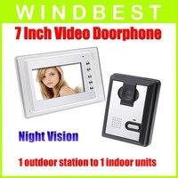 Freeshipping Dropshipping 7 Inch Video Door Phone doorphone Doorbell Intercom Kit 1-camera to1-monitor Night Vision