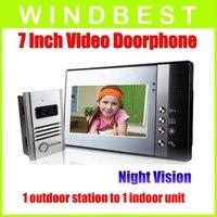 Freeshipping Dropshipping 1-camera to1-monitor 7 Inch Color TFT LCD Video Door Phone doorphone Doorbell Intercom KitNight Vision