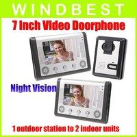 DHL/EMS Freeshipping Dropshipping 1-camera to2-monitor 7 Inch Video Door Phone doorphone Doorbell Intercom Kit  Night Vision