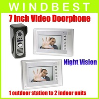 DHL/EMS Freeshipping Dropshipping 1-camera to2-monitor Night Vision 7 Inch Video Door Phone doorphone Doorbell Intercom Kit