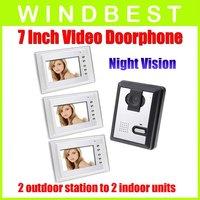DHL Freeshipping 1-camera to 3-monitor 7 Inch Color Wired Video Door Phone doorphone Doorbell Intercom Kit Night Vision