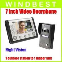 Freeshipping Dropshipping 1-camera to1-monitor 7 Inch TFT LCD  Video Door Phone doorphone Doorbell Intercom Kit Night Vision