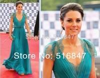 2015 New Fashion Blue Chiffon Party Dresses Evening Prom Celebrity Dresses Custom Size Free Shipping