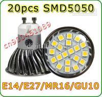 DC12V/AC85-265V 7W E14/E27/MR16/GU10 smd 5050 20led 360lm warm white cold white Indoor led spotlight