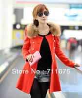 wholesale Free shipping 1pcs 1293 wool collar wool coat winter women's double breasted slim woolen