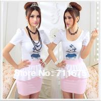 5pcs/lot Free shipping  summer tight white 100% cotton bear short-sleeve t-shirt 813