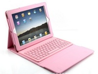 BRAND NEW Wireless Bluetooth 3.0 Qwerty Keyboard Leather Case Stand For ipad 1 2 3 4 FREE SHIPPING PINK