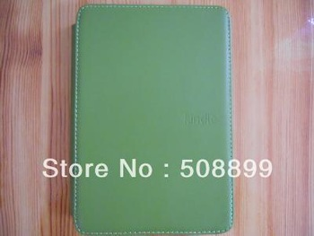 New Green GENUINE Leather Case With Lamp for Amazon Kindle Touch Built-in Led light Free Shipping