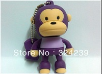 Purple new cartoon USB 2.0 flash storage four large capacity, high speed (stand up monkey)/monkey
