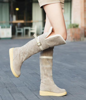 2014 autumn and winter fashion knee-length  fur boots nubuck leather thermal snow low-heeled female women's boots