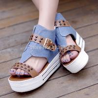 2014 women wedges sandals female canvas women's  platform open toe shoe high-heeled shoes rivet