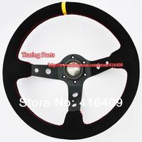MOMO Racing Steering Wheel Red Stitch Black Suede Leather Car Steering Wheel