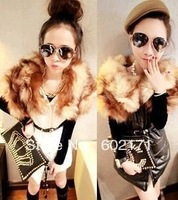 FREE SHIPPING 2013 large fox fur space cotton leather vest with belt