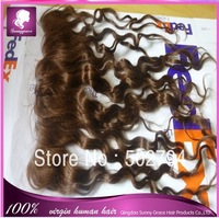 Free shipping brown color Curly Indian hair 13*4 human hair lace frontal with baby hair bleached knots