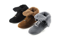 Free Shipping! 2013 Newest Brand Sneakers Sheepskin Fur Winter Short Boots For Women,Fashion Lady Snow Boots Gray Black Khaki