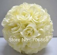 Ivory/cream Color Artificial silk kissing rose flower ball 30cm outer diameter 12pcs/lot wedding Church decoration