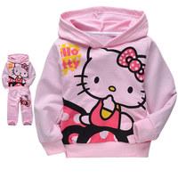 Free shipping 5 sets/lot Pure Cotton Pants Suit Wholesale Children's Wear Hello Kitty Sport Suits Long Sleeve Hoodies Pants Sets