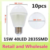 10PCS/lot led bulb lamp High brightness E27 6w 9w 12w 15w 2835SMD AC85-265V Cold white/warm white Free shipping