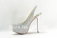 2013 brand new rhinestone wedding genuine leather high heel shoes,sheepskin platform red bottom pumps,sandals,size34-42,white