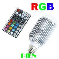 Wholesale10W RGB LED Bulb  Party Decorating E27 |GU10 16 Color changing Spot Light +Remote Control Free shipping 1pcs