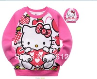 Free shipping(6pcs/lot) children's long sleeve cute and lovely hello kitty T-shirts