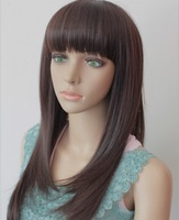 60CM 190G Silky straight Synthetic wigs(#2 black,#2t33 dark brown,#2t30 light brown) ,free shipping