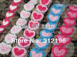 Free Shipping!50pcs/lot Chiffon Rosette Hearts,Shabby Chic Chiffon HEART Appliques,Hair Accessories,MG008(China (Mainland))