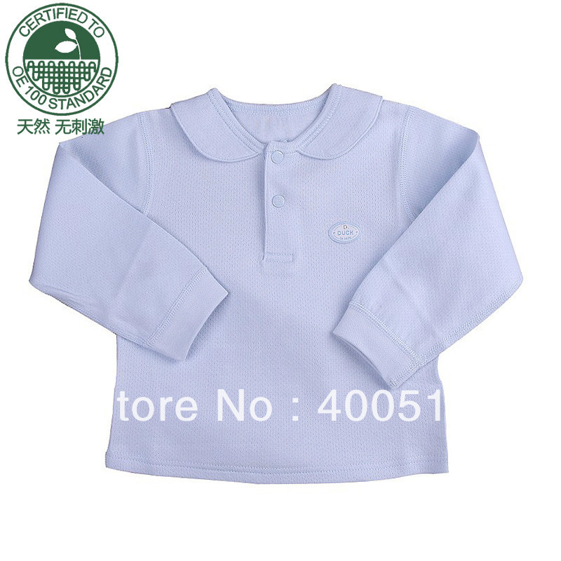 Duck organic cotton children&#39;s clothing autumn child underwear 100% cotton baby top male child top sleepwear 21004(China (Mainland))