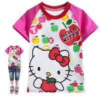 Free shipping 6 pcs/lot cartoon kids t-shirts hello kitty short sleeve t shirts for children fashion girls cotton tops wear