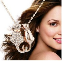 18k white gold plated cute cat austrian crystal necklace pendant wedding jewelry  GP479