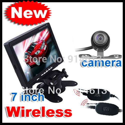 "WIRELESS CAR REAR VIEW KIT 7"" LCD MONITOR + WATERPROOF IR REVERSING CAMERA(China (Mainland))"