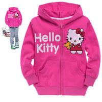 Free shipping 6pcs/lot Cartoon Printed Girls Sport Coat Hello Kitty Long Sleeve Hoodies Cotton Sportwear Children Top Clothes