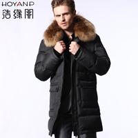 Hoyanp down jacket men's 2014 male medium-long hooded down coat male Winter down coat Big size 4XL long parka