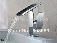 New Deck Mount Bathroom Basin Faucet Brass Waterfall Tap L-106