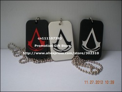 "Assassins Creed necklace, Assassin's creed logo dog tag with 24"" ball chain, Game Souvenirs,5colours, 1pcs/lot, free shipping(China (Mainland))"