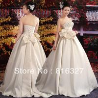Free Shipping sweet princess wedding dress royal nobility big bow plus size wedding dress