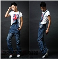 Free shipping 2013 new men's denim overalls,  overalls trousers, suspenders Large size jeans -137