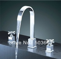3pcs Fashion Waterfall Bathtub Faucet Set Surface Mounted Chrome Mixer Tap L-132