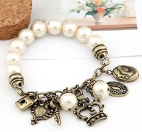 hot sale fashion simulated-pearl bracelet imperial crown small key bracelet free shipping RuYiSL057
