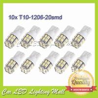 10X T10 W5W 20 SMD LED 1206 Car Side Wedge Light Bulb 194 927 161 168 White