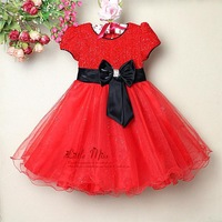 New 2013 Fashion Children Party Dresss Red With Black Bow Baby Princess Pettiskirt Tutu Skirt Kids Clothing 6Pcs/ Lot