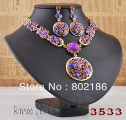 Indian Jewelry Set Big Round Charm Purple Necklace Eearrings Women's Jewelry Free Shipping(China (Mainland))