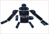 fit for  Subaru XV Gate Slot Pad Blue Line Rubber Car-cup Mat Pad Non-slip Mat 14 pcs