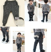 Free shipping 5-7 years new Winter pants Children's printed Stars patch harem pants ass big pocket loose boys pants gray color